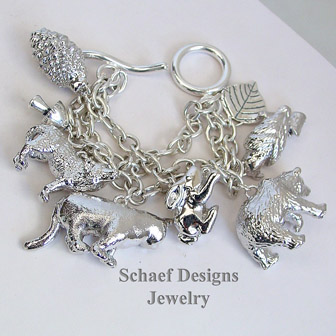 Susan Cummings Wilderness Animal Sterling Silver Vintage Charm Bracelet | Schaef Designs | New Mexico