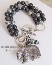 Susan Cummings Sterling Silver Vintage large bear charm and black wooden bead Charm Bracelet | Schaef Designs | New Mexico