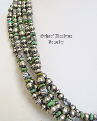 Schaef Designs 5 strand hubei green turquoise & oxidized Navajo pearl & bench bead Southwestern necklace | New Mexico