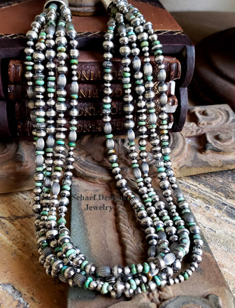Schaef Designs 5 strand Hubei green turquoise & oxidized Navajo Pearl & bench bead necklace |  New Mexico