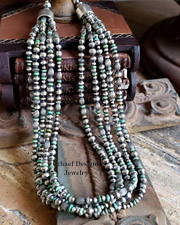Schaef Designs Hubei green turquoise & sterling silver oxidized bench bead & Navajo pearl Southwestern necklace |  New Mexico