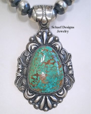 LMC Large Carico Lake Turuqoise Southwestern Pendant | Collectible Old Coins | online upscale native American jewelry boutique gallery| Schaef Designs Southwestern turquoise Jewelry | New Mexico
