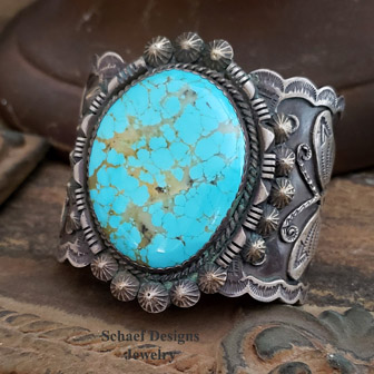 Albert Cleveland Native American Turquoise Jewelry | Men's Southwestern turquoise jewelry | Huge XL sterling silver & turquoise butterfly bracelet | upscale online turquoise, southwestern, native american, equine, & gemstone jewelry gallery boutique| Schaef Designs artisan handcrafted Jewelry |New Mexico