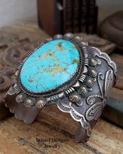 Albert Cleveland Huge XL sterling silver & turquoise butterfly bracelet | Schaef Designs | New Mexico