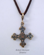 Antique Bronze Coin Cross Pendant on Adjustable Leather Necklace | New Mexico