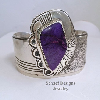 Art Tafoya Sugilite & Sterling Silver Cuff Bracelet | Schaef Designs turquoise Jewelry | New Mexico