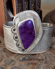 Art Tafoya Sugilite & Sterling Silver Cuff Bracelet | online upscale native American jewelry boutique gallery| Schaef Designs Southwestern turquoise Jewelry | New Mexico