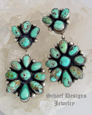 Bea Tom Artist Signed Carico Lake Turquoise Double Cluster POST Earrings | online upscale native American jewelry boutique gallery| Schaef Designs Southwestern turquoise Jewelry | New Mexico