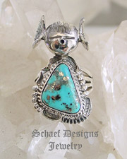 Bennie Ration Morenci Turquoise & Sterling Silver Ring SIZE 9.5 | New Mexico