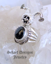 Bennie Ration Black Onyx & Sterling Silver Jester Kachina Ring SIZE 8.5 | New Mexico