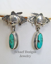 Bennie Ration Turquoise & Sterling Silver Kachina POST Earrings | New Mexico