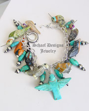 Schaef Designs Turquoise & Multi Stone Bird Fetish Charm Bracelet | New Mexico