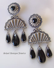 David Troutman Old Style Texas Big Black Obsidian Concho Chandelier Post Earrings| upscale online turquoise & equine jewelry boutique gallery | Schaef Designs Turquoise Southwestern Jewelry | New Mexico