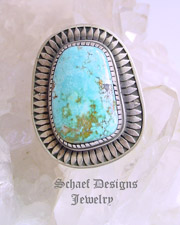 Blue Carico Lake Turquoise Artist Signed Ring Sz 8.5 | Southwestern turquoise jewelry | online upscale native American jewelry boutique gallery| Schaef Designs Southwestern turquoise Jewelry | New Mexico