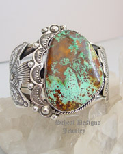 Art Tafoya Blue Diamond Turquoise & Sterling Silver Cuff Bracelet| Schaef Designs | New Mexico