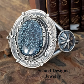 Blue New Lander with tight spider web pattern & Sterling Silver Artist Signed D Clark Cuff Bracelet | Schaef Designs | New Mexico