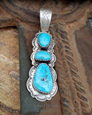 Native American Blue Turquoise & Hand Stamped Sterling Silver Pendant | Schaef Designs | New Mexico
