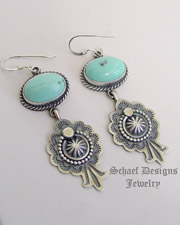 M & R Calladitto Light Blue Turqouise & Sterling Silver Wire Earrings | Schaef Designs | New Mexico