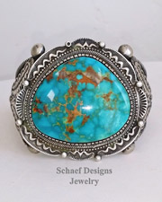 Nelvin Burbank Large Turquoise & Sterling Silver Cuff Bracelet | Schaef Designs | Arizona