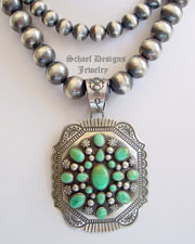 Darryl Cadman Carico Lake Turquoise & Sterling Silver Cluster Pendant | New Mexico