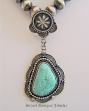 Carico Lake Turquoise Pendant with Rosette Bail Artist Signed D Clark | Southwestern turquoise jewelry | online upscale native American jewelry boutique gallery| Schaef Designs Southwestern turquoise Jewelry | New Mexico