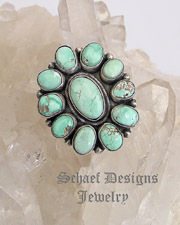 B. Johnson Light Blue Carico Lake Turquoise & Sterling Silver Cluster Adjustable Ring | New Mexico