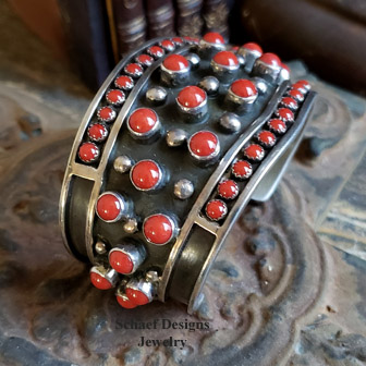 L James Coral & Sterling Silver Cuff Bracelet | New Mexico