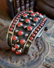 Native American L. James Coral & Sterling Silver Heavy Cuff Bracelet | New Mexico