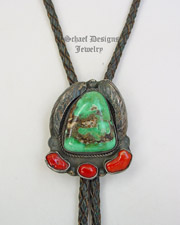 OLD PAWN AAA Turquoise, Mediterranean Coral & Sterling Silver Bolo | New Mexico
