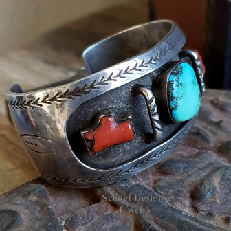 Old Pawn Native American turquoise, coral & sterling silver shadowbox style cuff bracelet | New Mexico