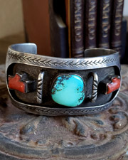 Native American Mediterranean Coral Turquoise & Sterling Silver Cuff Bracelet | New Mexico