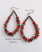 Native American coral turquoise & pin shell hoop earrings | Schaef Designs | New Mexico
