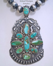 Darryl Becenti artist signed Royston Turquoise & sterling silver pendant on sterling silver oxidized bead necklace | Schaef Designs |  New Mexico