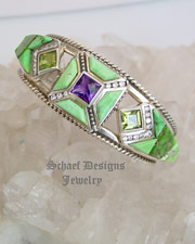 Carico Lake Turquoise, diamonds, amethyst, peridot & sterling silver inlaid cuff bracelet | Schaef Designs | New Mexico