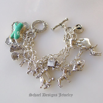 Schaef Designs Turquoise Dog Bone Westminster Show Sterling Silver Charm Bracelet Pet Jewelry