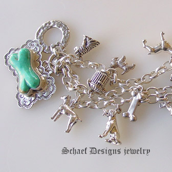 Oranschaef Designs Turquoise Dog Bone Westminster Show Sterling Silver Charm Bracelet Pet Jewelry