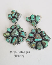 Eleanor Largo Artist Signed Carico Lake Turquoise Double Cluster POST Earrings | Schaef Designs turquoise jewelry| New Mexico
