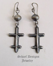 Buffalo Ingot Sterling Silver Dragonfly Cross & Bead WIRE Earrings | New Mexico
