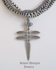 Buffalo Ingot Silver Hand Wrought Dragonfly Pendant | New Mexico