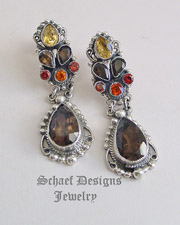 Leo Feeney Fall Colors  Sapphire Smoky Topaz Earrings | Schaef Designs | New Mexico