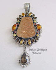 Leo Feeney Fall Colors Cinnamon Druzy Sapphire Topaz Pendant | Schaef Designs | New Mexico
