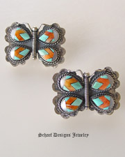 Federico Inlaid Butterfly Earrings | Turqouise Spiny Oyster Shell Mother of Pearl MOP | Schaef Designs Upscale Southwestern Jewelry | online jewerly boutique | New Mexico
