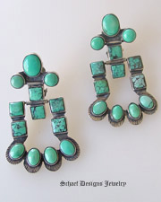 Federico signed turquoise chandelier clip earrings | Schaef Designs Jewelry |  New Mexico