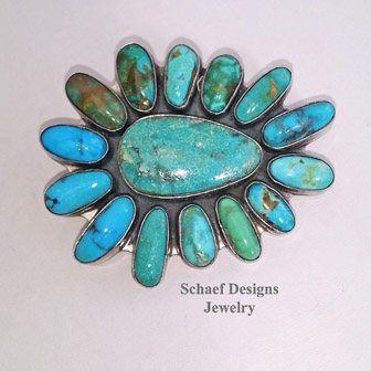Federico signed turquoise large cluster pendant pin | New Mexico