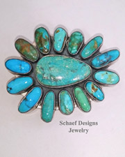 Federico signed turquoise large cluster pendant pin on Schaef Designs Royston Turquoise Nugget 3 strand necklace and sterling silver rosette and turquoise nugget layering necklace  | Schaef Designs Jewelry |  New Mexico