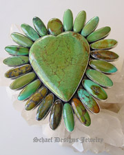 Federico artist signed Large multi colored turquoise heart pin pendant | Schaef Designs Jewelry |  New Mexico