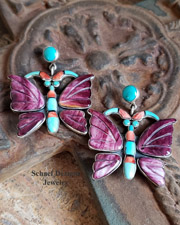 Federico signed purple spiny oyster shell, turquoise, onyx & orange spiny carved butterfly earrings | Federico Jewelry for Schaef Designs Jewelry |  New Mexico