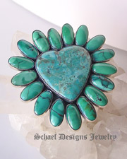 Federico signed blue turquoise & sterling silver small heart pin pendant  | Schaef Designs Jewelry | New Mexico