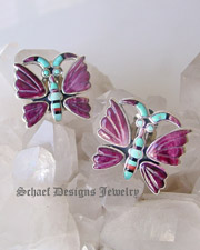 Federico signed purple spiny oyster shell, turquoise, onyx & orange spiny carved butterfly earrings | Schaef Designs  |  New Mexico