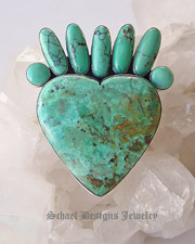 Federico signed turquoise & sterling silver small heart pin pendant  | Schaef Designs Jewelry |  New Mexico
